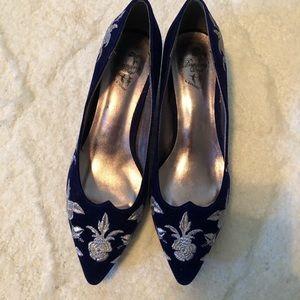 Dancing shoes royal blue velvet